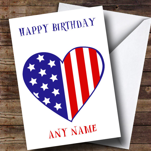 USA Flag Heart Personalised Birthday Card
