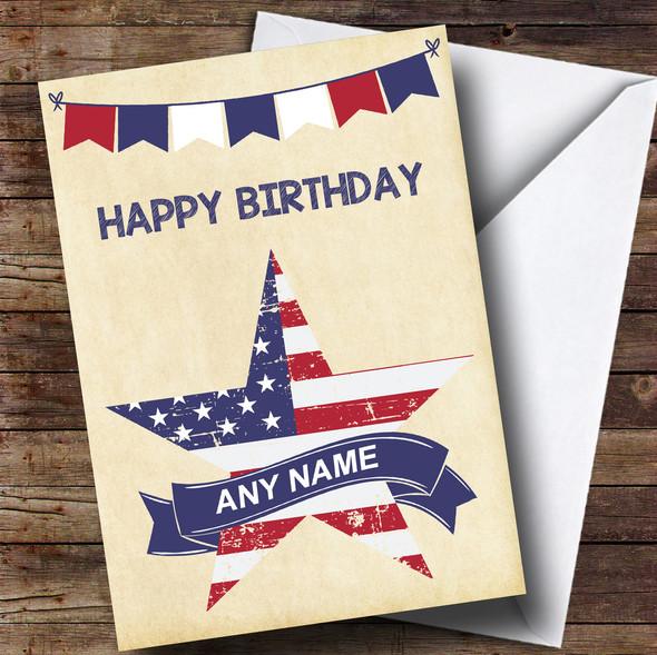 USA Flag Star Personalised Birthday Card