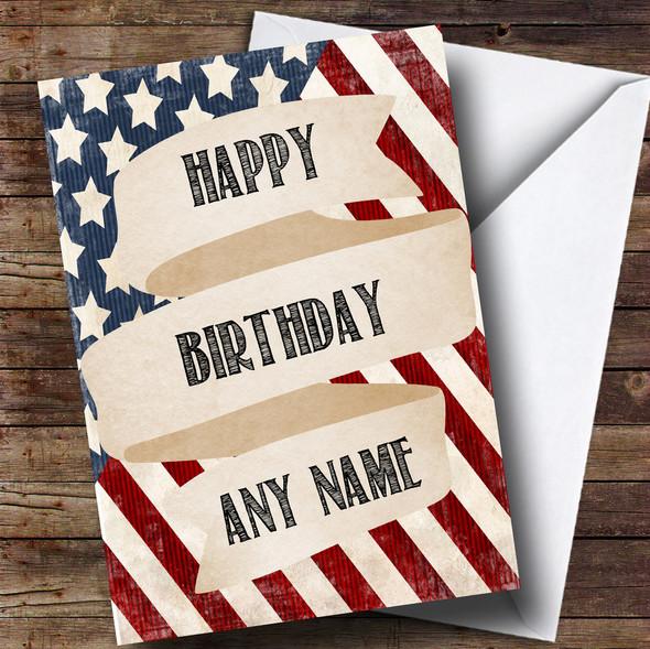 USA Vintage Flag Personalised Birthday Card