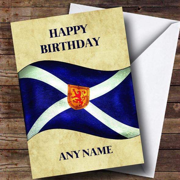 Vintage Scottish Flag Personalised Birthday Card