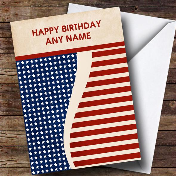 Vintage USA Flag Personalised Birthday Card