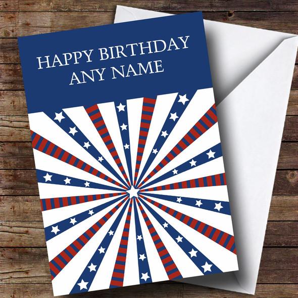 White Stars & Stripes Personalised Birthday Card