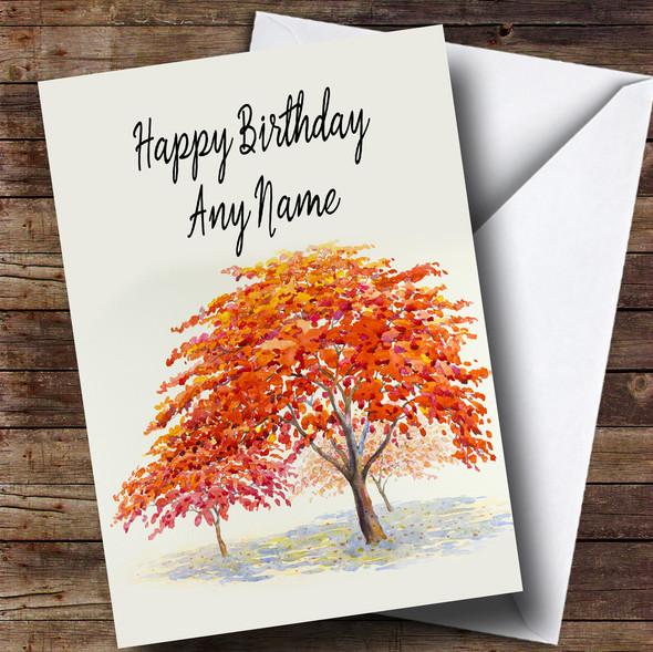 Autumn Fall Tree Personalised Birthday Card