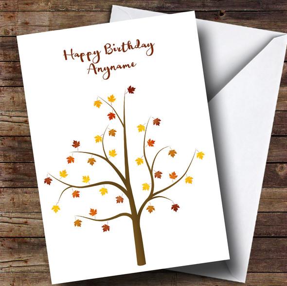 Autumn Tree Personalised Birthday Card