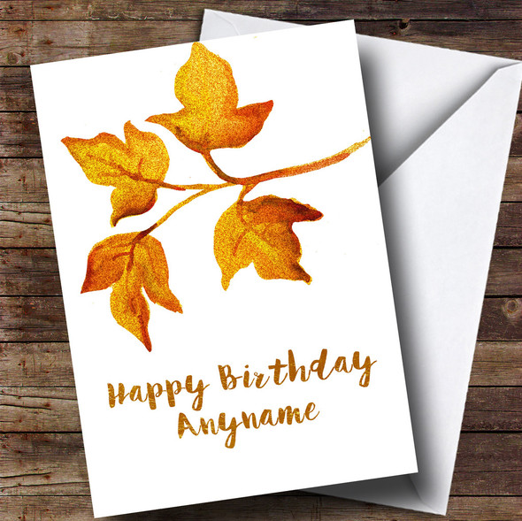 Golden Leaves Personalised Birthday Card