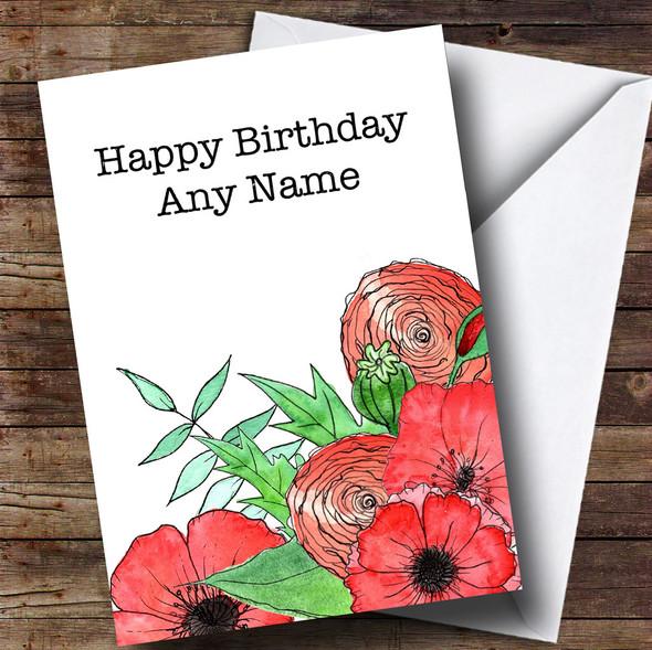 Poppies & Flowers Personalised Birthday Card