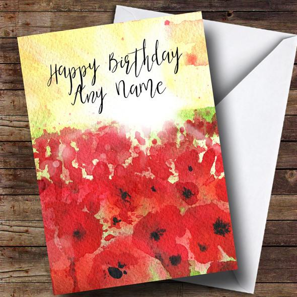 Poppy Field & Sun Personalised Birthday Card