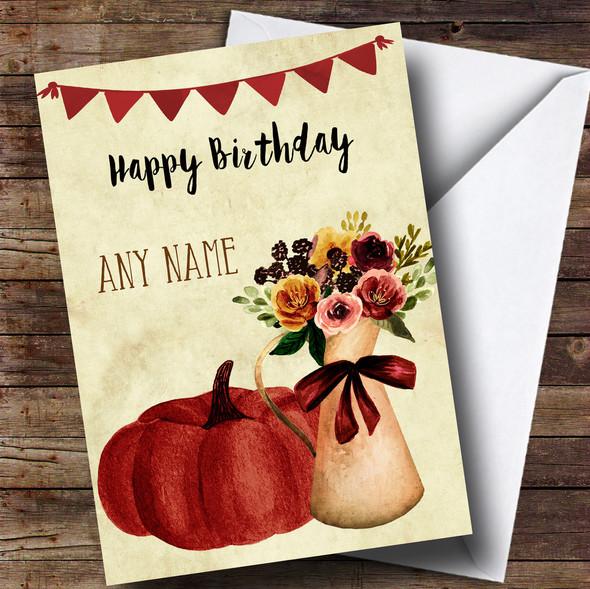 Pumpkin & Flowers Personalised Birthday Card