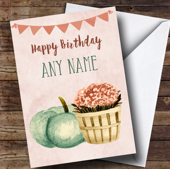 Pumpkin & Plant Personalised Birthday Card