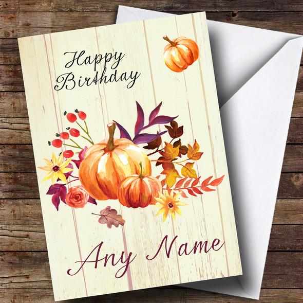 Pumpkin Floral Wood Personalised Birthday Card