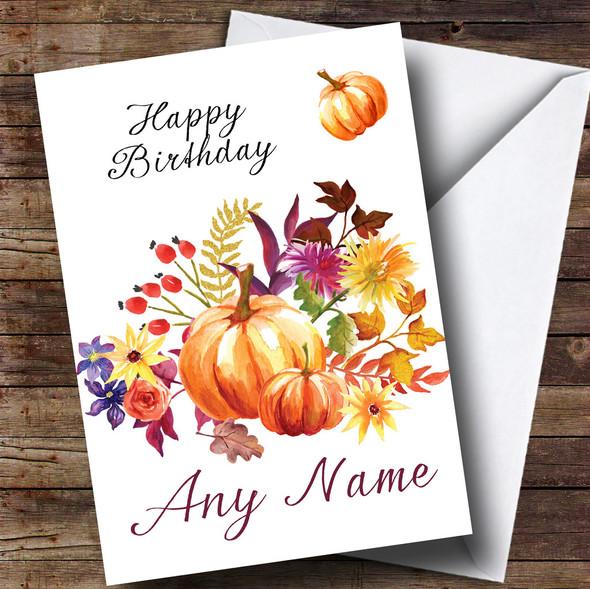 Pumpkin Floral Personalised Birthday Card