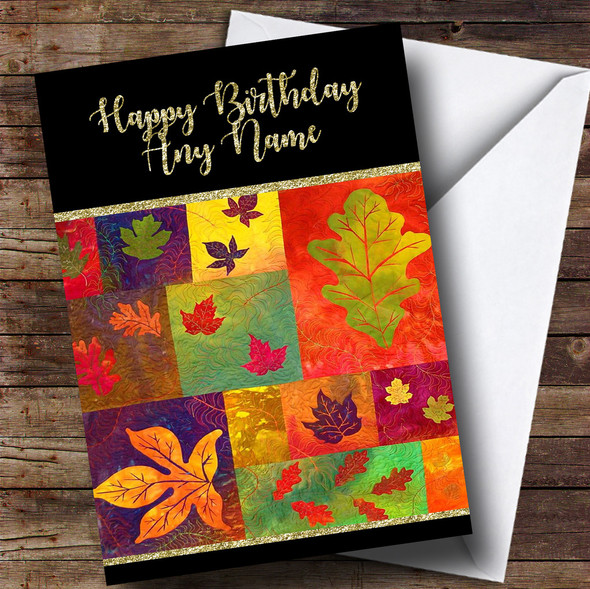 Quilted Fall Leaves Golden Personalised Birthday Card