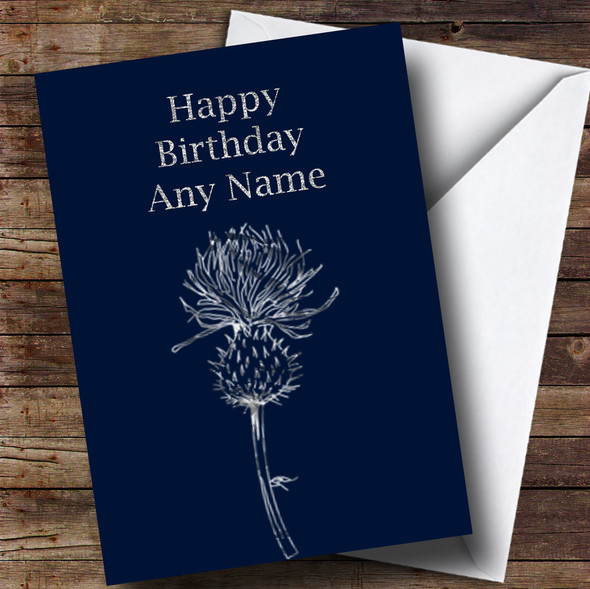 Silver Scottish Thistle Personalised Birthday Card