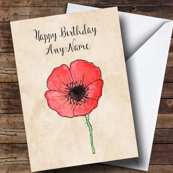 Vintage Poppy Personalised Birthday Card
