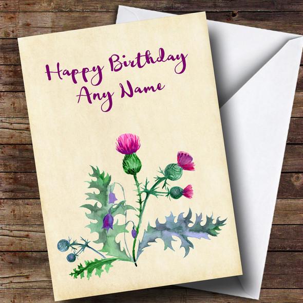 Watercolour Scottish Thistle Personalised Birthday Card