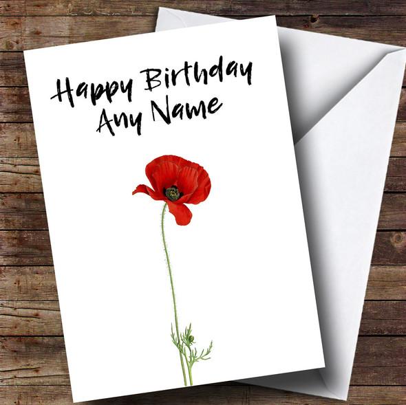 White Poppy Personalised Birthday Card