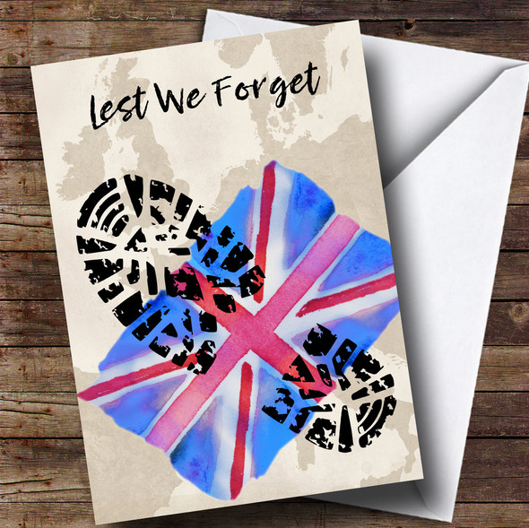 Military Boot Print & Union Jack UK Flag Personalised Rememberance Day Card