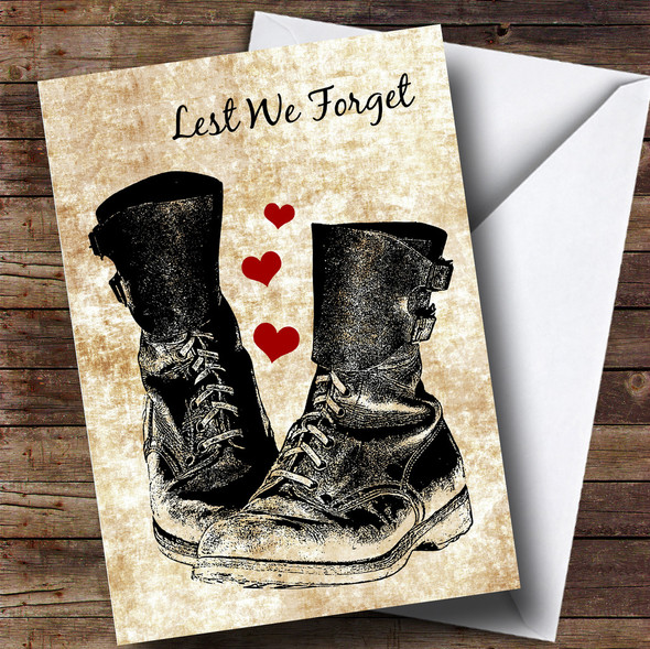 Military Boots & Hearts Personalised Rememberance Day Card