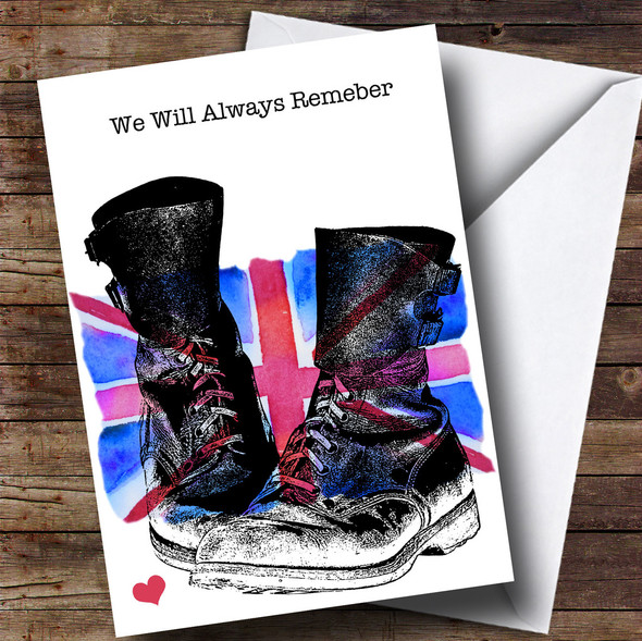 Military Boots & Union Jack UK Flag Personalised Rememberance Day Card