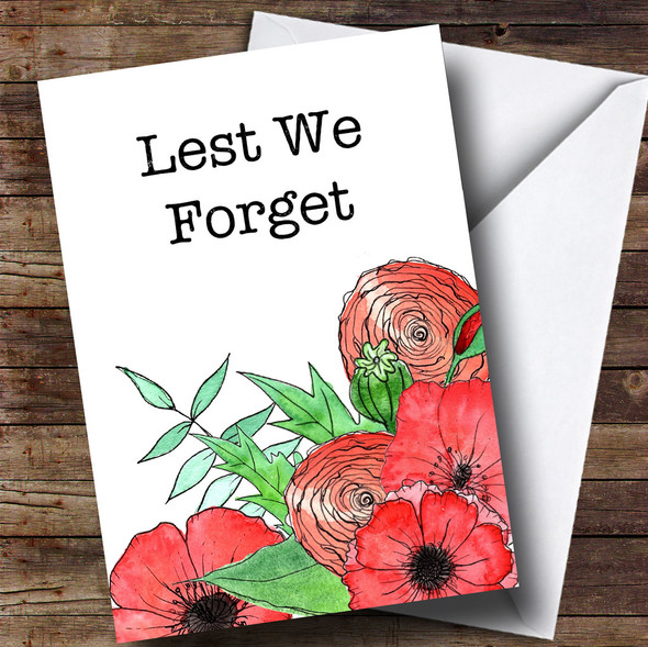 Poppies & Flowers Personalised Rememberance Day Card
