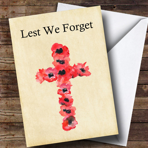 Poppy Cross Personalised Rememberance Day Card
