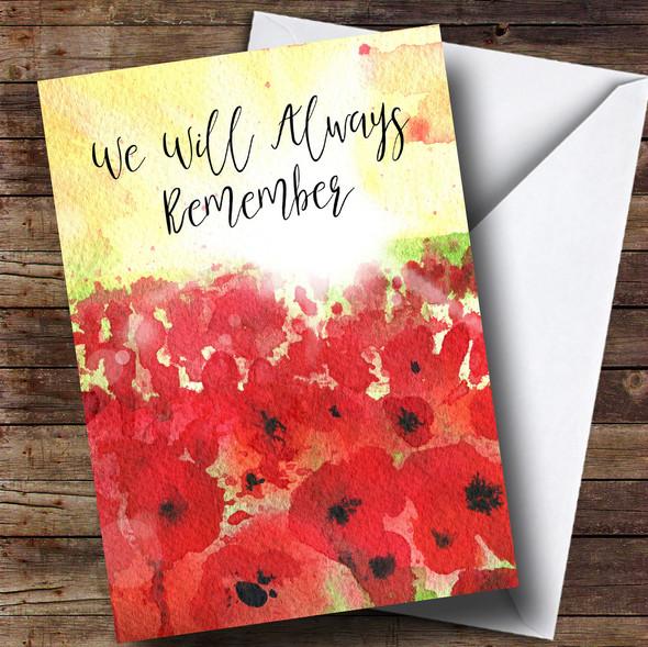 Poppy Field & Sun Personalised Rememberance Day Card