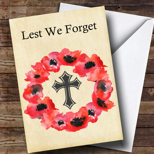 Poppy Wreath Personalised Rememberance Day Card