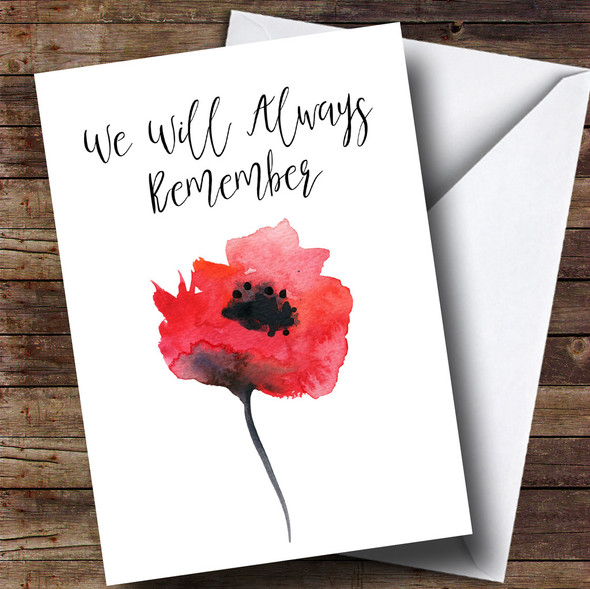 Watercolour Poppy Personalised Rememberance Day Card