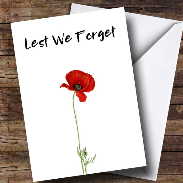 White Poppy Personalised Rememberance Day Card