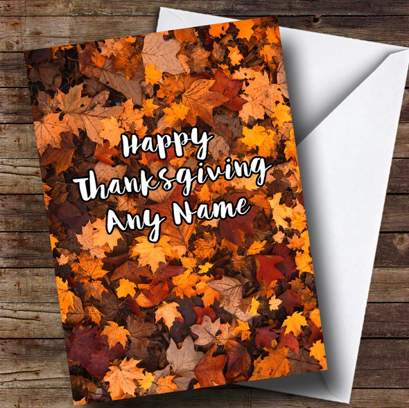 Autumn Fall Leaves Personalised Thanksgiving Card