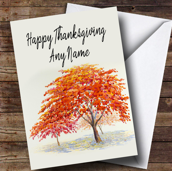 Autumn Fall Tree Personalised Thanksgiving Card