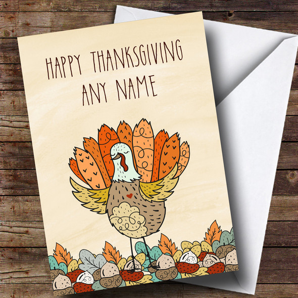 Autumn Fall Turkey Personalised Thanksgiving Card
