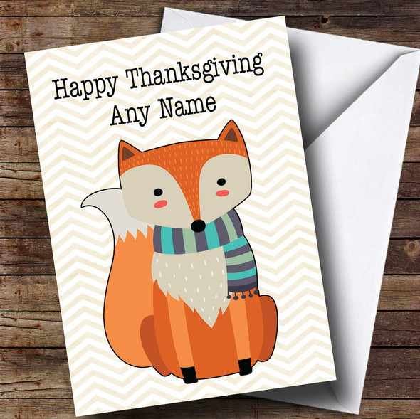 Autumn Fox Personalised Thanksgiving Card