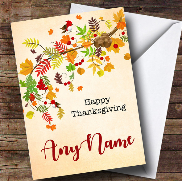 Autumn Leaves Personalised Thanksgiving Card