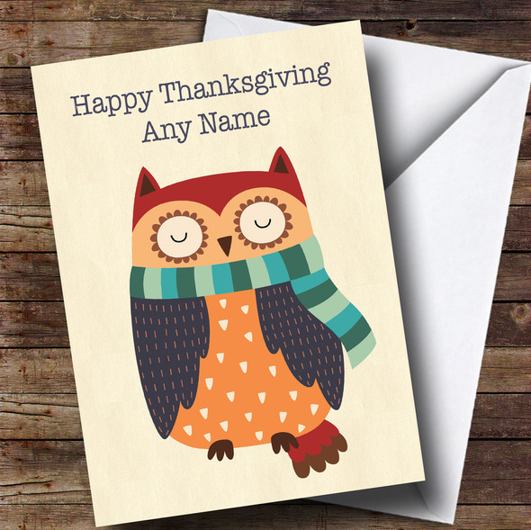 Autumn Owl Personalised Thanksgiving Card