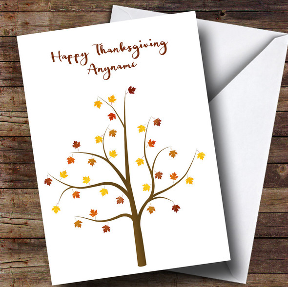 Autumn Tree Personalised Thanksgiving Card