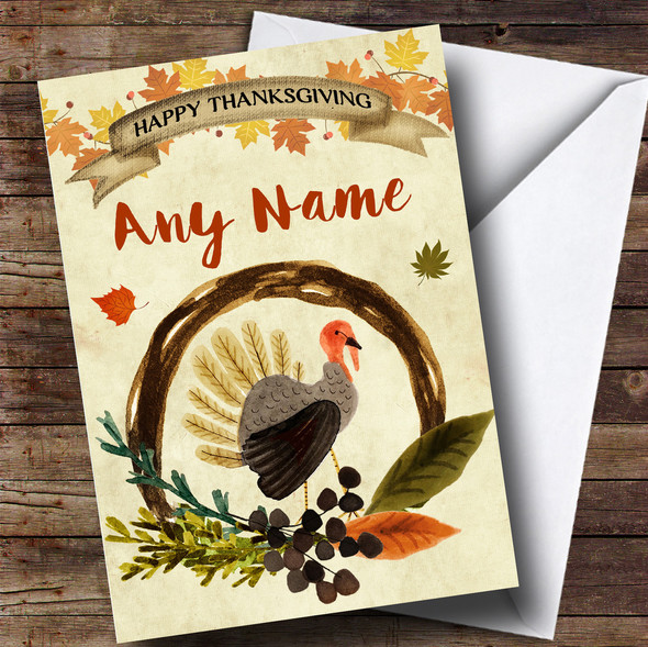 Autumn Watercolour Fall Turkey Personalised Thanksgiving Card