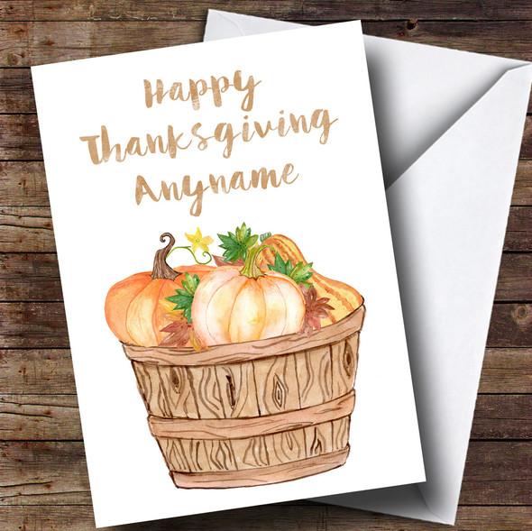 Basket of Pumpkins Personalised Thanksgiving Card