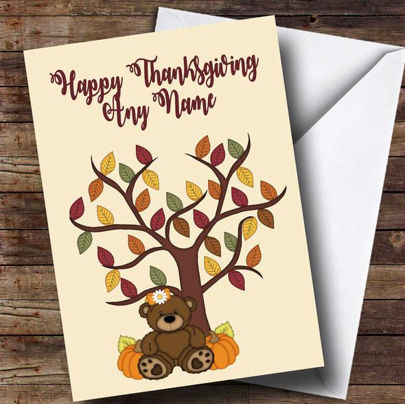Bear Pumpkin Tree Personalised Thanksgiving Card