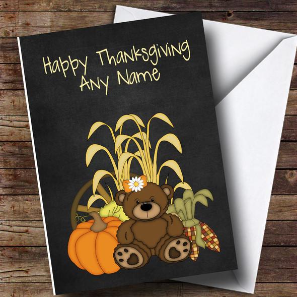 Chalk Harvest bear Personalised Thanksgiving Card