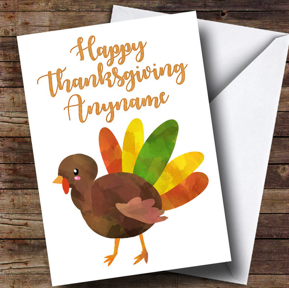 Colourful Turkey Personalised Thanksgiving Card