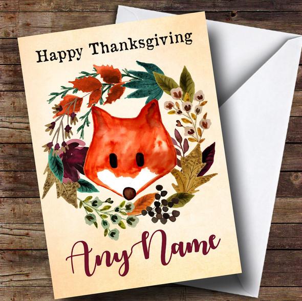 Fox Autumn Wreath Personalised Thanksgiving Card