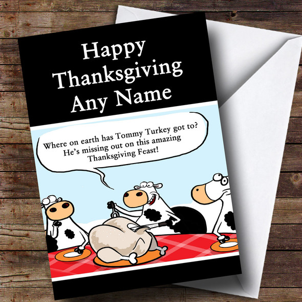 Funny Cows Eating Dinner Personalised Thanksgiving Card