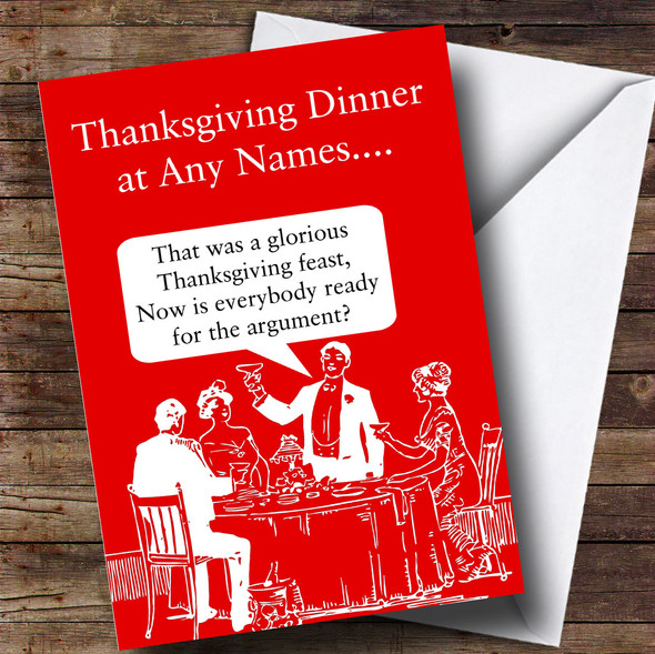 Funny Family Argument Personalised Thanksgiving Card