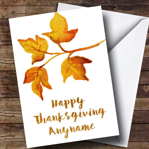 Golden Leaves Personalised Thanksgiving Card