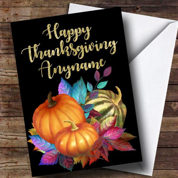 Golden Pumpkin Personalised Thanksgiving Card