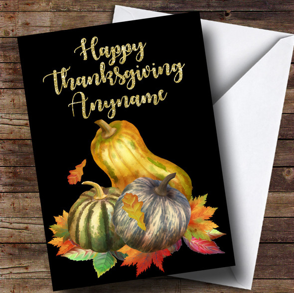 Golden Squash Personalised Thanksgiving Card