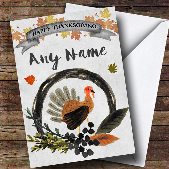 Grey Watercolour Fall Turkey Personalised Thanksgiving Card