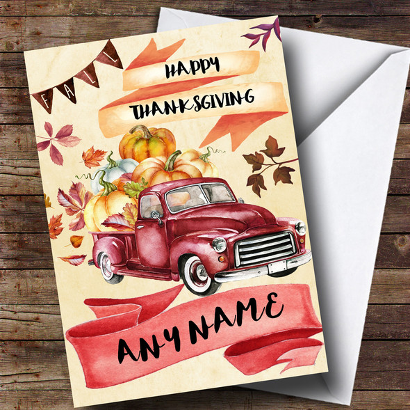 Harvest Truck Personalised Thanksgiving Card