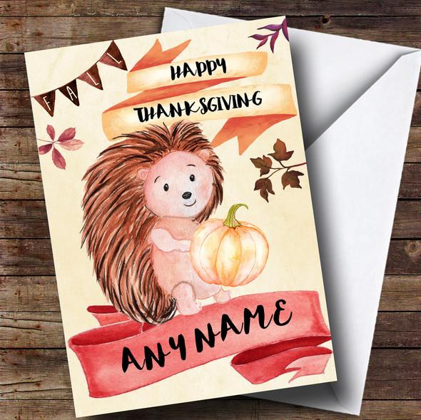Hedgehog & Pumpkin Personalised Thanksgiving Card
